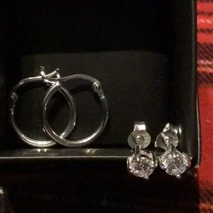 Sterling Silver Hoop and CZ Stud Earrings Set